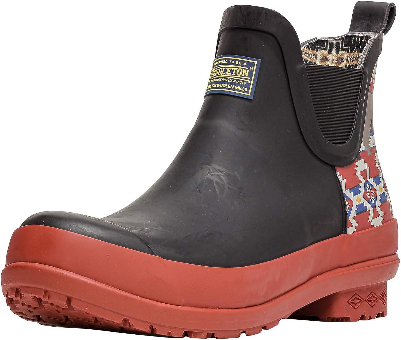 Pendleton Women's Heritage Print Chelsea Slip-Resistant Rain Boot, Mountain Majesty Black, Size