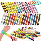 Toys : Toyssa 100 PCS Slap Bracelets Party Favors with Colorful Hearts Emoji Animal Print Design Retro Slap Bands for Kids Adults Birthday Classroom Gifts (100PCS)