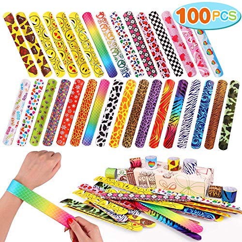 Toyssa 100 PCS Slap Bracelets Party Favors with Colorful Hearts Emoji Animal Print Design Retro Slap Bands for Kids Adults Birthday Classroom Gifts (100PCS)