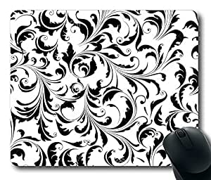"""Black White Floral Pattern Rectangle Oblong Mouse Pad Design Mousepad in 220mm*180mm*3mm (9""""*7"""") -81905"""