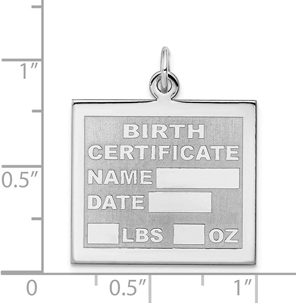 Solid 925 Sterling Silver Birth Certificate Charm Pendant 28mm x 22mm