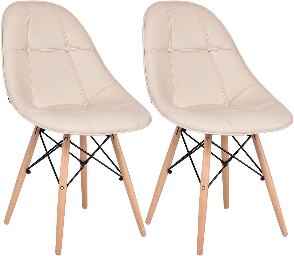 Giantex Leather Dining Chairs Set of 2 PU Upholstered Modern Style Mid-Century Tufted Nailhead Back Wood Legs Armless DSW Side Chair for Living Room Dining Room Kitchen Beige