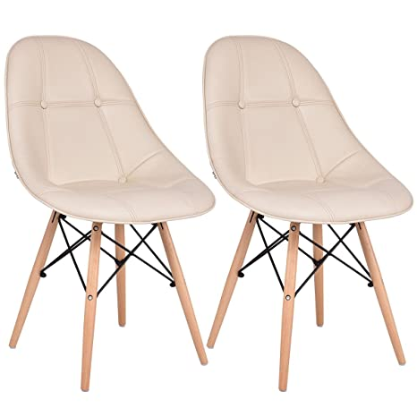 Pleasant Giantex Leather Dining Chairs Set Of 2 Pu Upholstered Modern Style Mid Century Tufted Nailhead Back Wood Legs Armless Dsw Side Chair For Living Room Theyellowbook Wood Chair Design Ideas Theyellowbookinfo