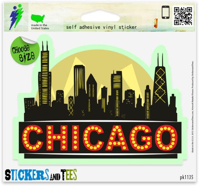 """Chicago City Skyline Black Vinyl Car Bumper Window Sticker 2"""" x 2"""""""
