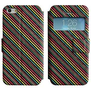 Be-Star Diseño Impreso Colorido Slim Casa Carcasa Funda Case PU Cuero - Stand Function para Apple iPhone 5 / 5S ( Diagonal Strips )