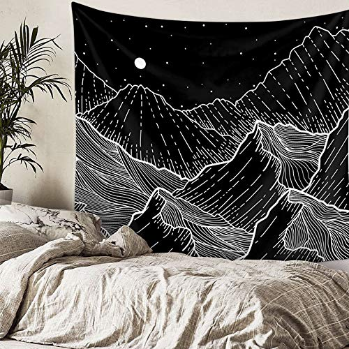 Mountains Tapestry Black and White Lines Art Tapestry Wall Hanging Mandala Bohemian Wall Tapestry for Bedroom, 59