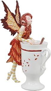 """Ebros Amy Brown Autumn Apple Cider Cinnamon Tea Fairy Statue 6.25""""Tall Tea Cup Fairy Collection"""