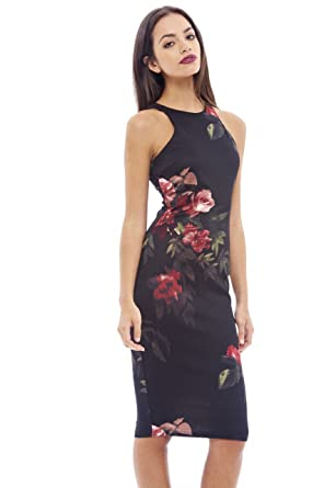 858cf653ede0b Amazon.com: AX Paris Women's Cut in Detail Neck Printed Midi Dress ...
