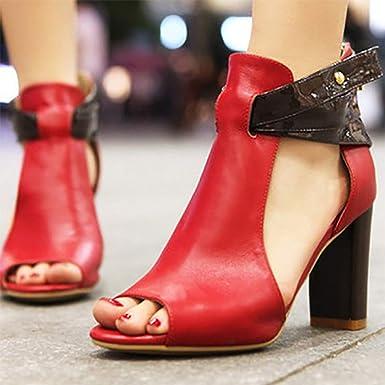 Darringls_Zapatos para Mujer,Zapatillas Sandalias con Cremallera de tacón Alto para Mujer Botas Cortas de Cuero Zapatillas Individuales: Amazon.es: Ropa y ...