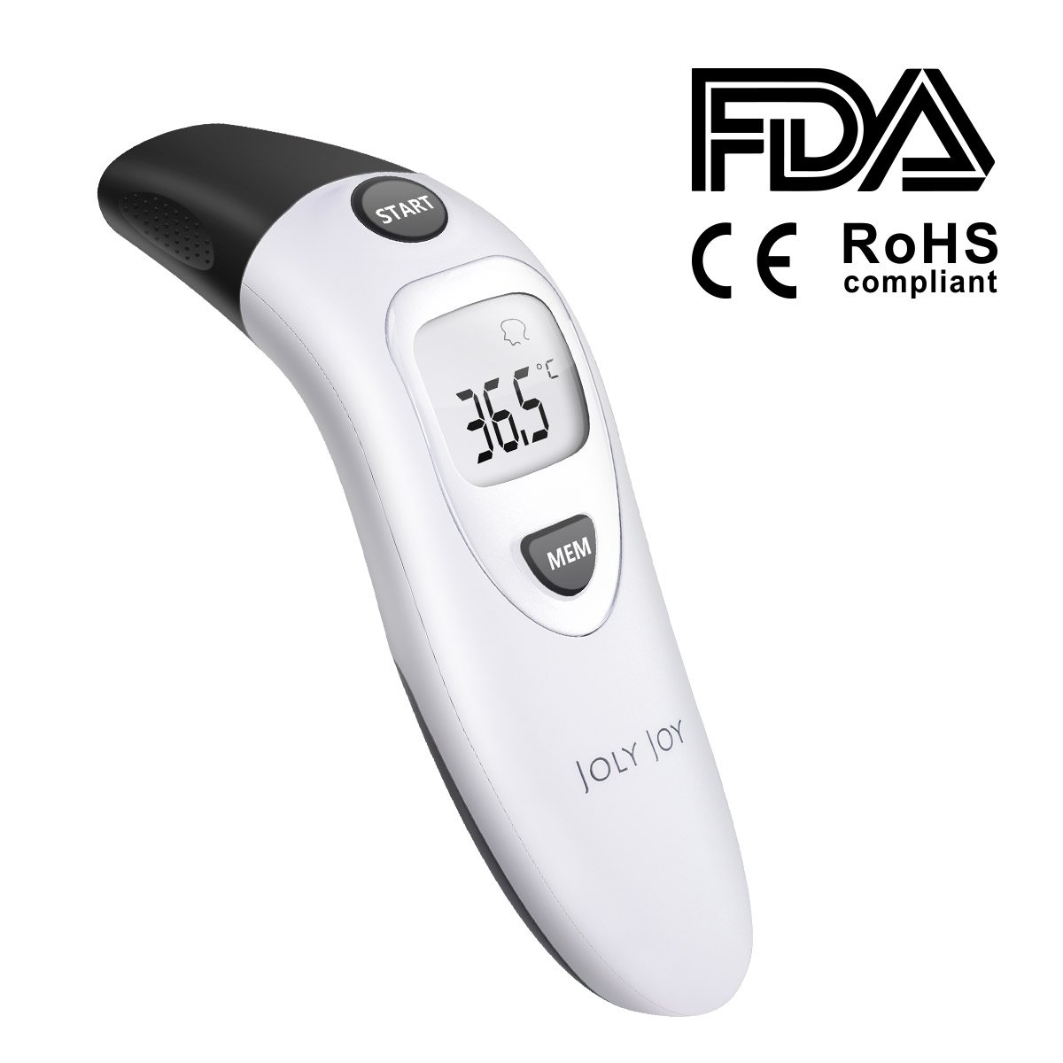 Joly Joy Baby Thermometer, Forehead and Ear Thermometer Dual Mode Professional Digital Medical Infrared Thermometer for Infant Baby and Adult -20 Memory Recall Safe and Hygienic,Celsius JH-BT01-BK