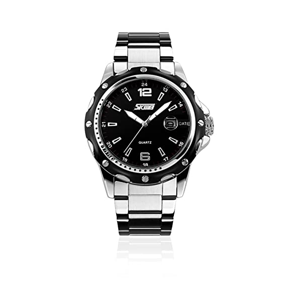 5afad3a735 Mens Stainless Steel Band Analog Quartz Watch Dress Wrist Unique Business  Casual Waterproof Watches Classic Calendar