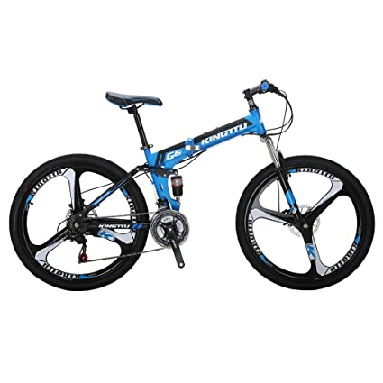 f434ab70882 Kingttu EURG6 Mountain Bike 26 Inches 3 Spoke Wheels Dual Suspension  Folding Bike 21 Speed MTB