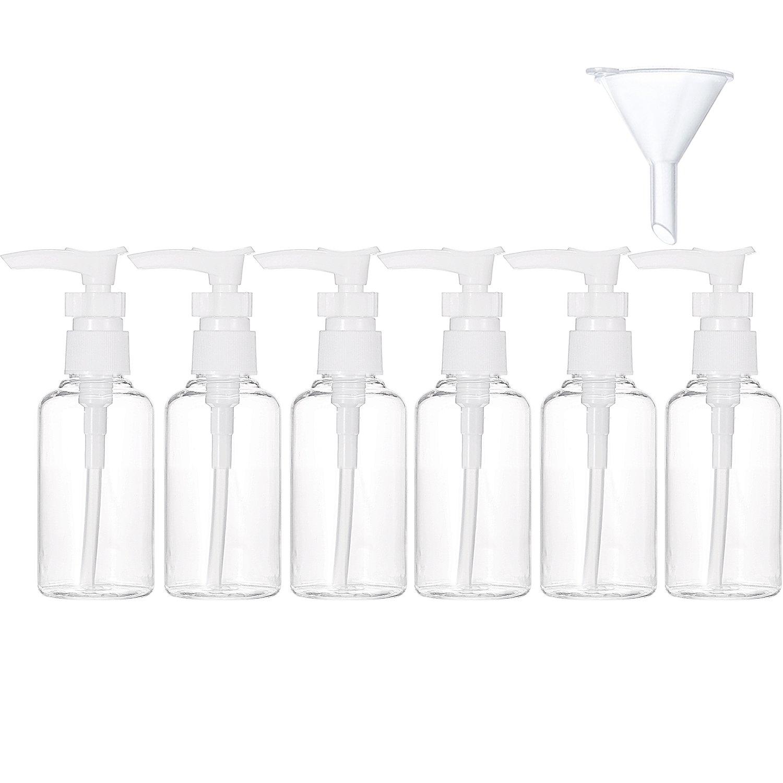 6 Pack Transparent Travel Bottles Pump Bottle Lotion Dispenser Bottle Set with Small Funnel for Flight, Airport, Holiday (White, 50 ml)