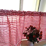 ZHH Window Valance Handmade Embroidered lace, Cafe Curtain Short Kitchen Curtain, Red and White Lattice 59 by 35-Inch (1 Panel) Review