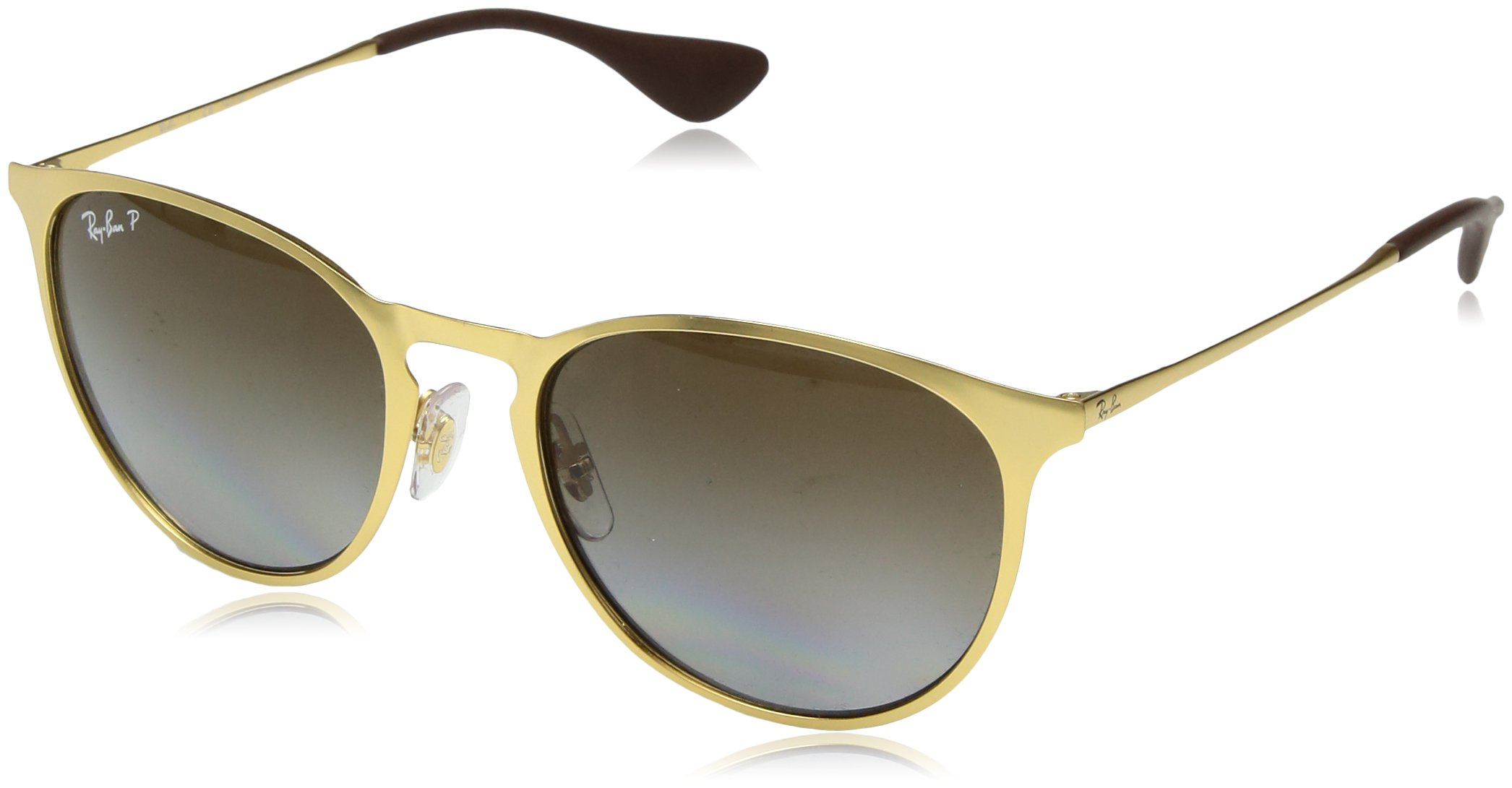 RAY-BAN RB3539 Erika Round Metal Sunglasses, Matte Gold/Polarized Brown Gradient, 54 mm by RAY-BAN