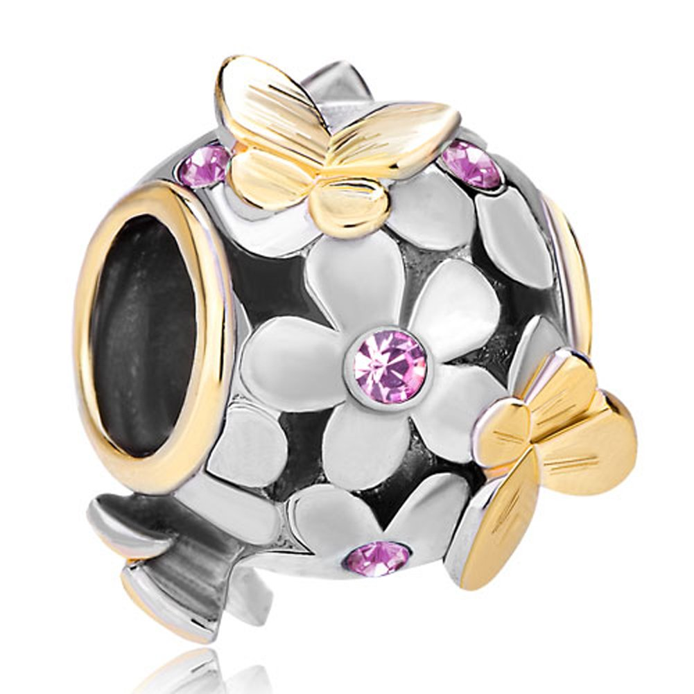 ba794d2f0 ... sterling silver Pandora clasp bracelet, two clear Amazon.com Pugster  Dark Blue Birthstone Crystal Flower Golden Butterfly Charm Beads Fits  Pandora ...
