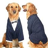 Big Large Dog Wedding Tuxedo Garment Clothes Dog Formal Party Suit Shirt Clothing With Dog Bow Tie Bulldogs Golden Retriever Big Dog Clothes Coat Jacket Costume (6XL, Black)