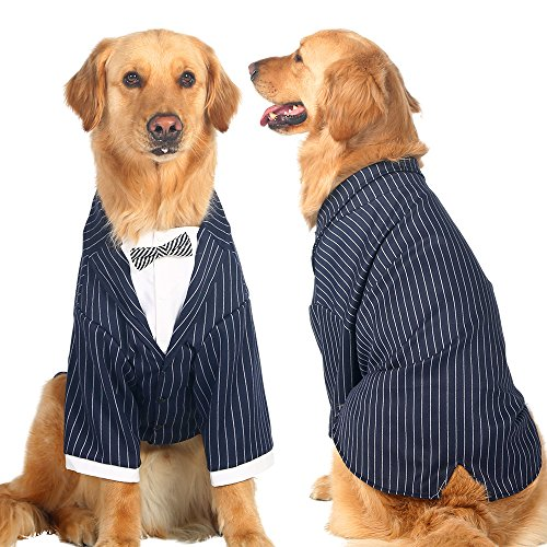 Large Dogs Tuxedo Party Wedding Suit Tails Formal Clothes for Big Size Dog Golden retriever, Samoyed, German shepherd Doberman pinscher (5XL(fit 73-78cm chest))