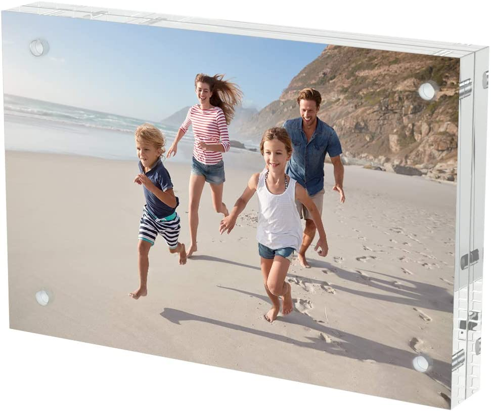 AITEE Acrylic Picture Frame 4x6,Clear Double-Sided Photo Frame,Magnetic Lucite Photo Frames Desktop Display.(10 + 10MM Thickness )