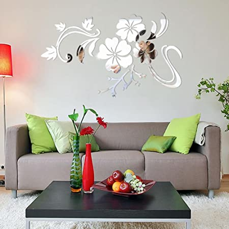 DRESS 3D Mirror Effect Floral Art Removable Wall Sticker Acrylic ...