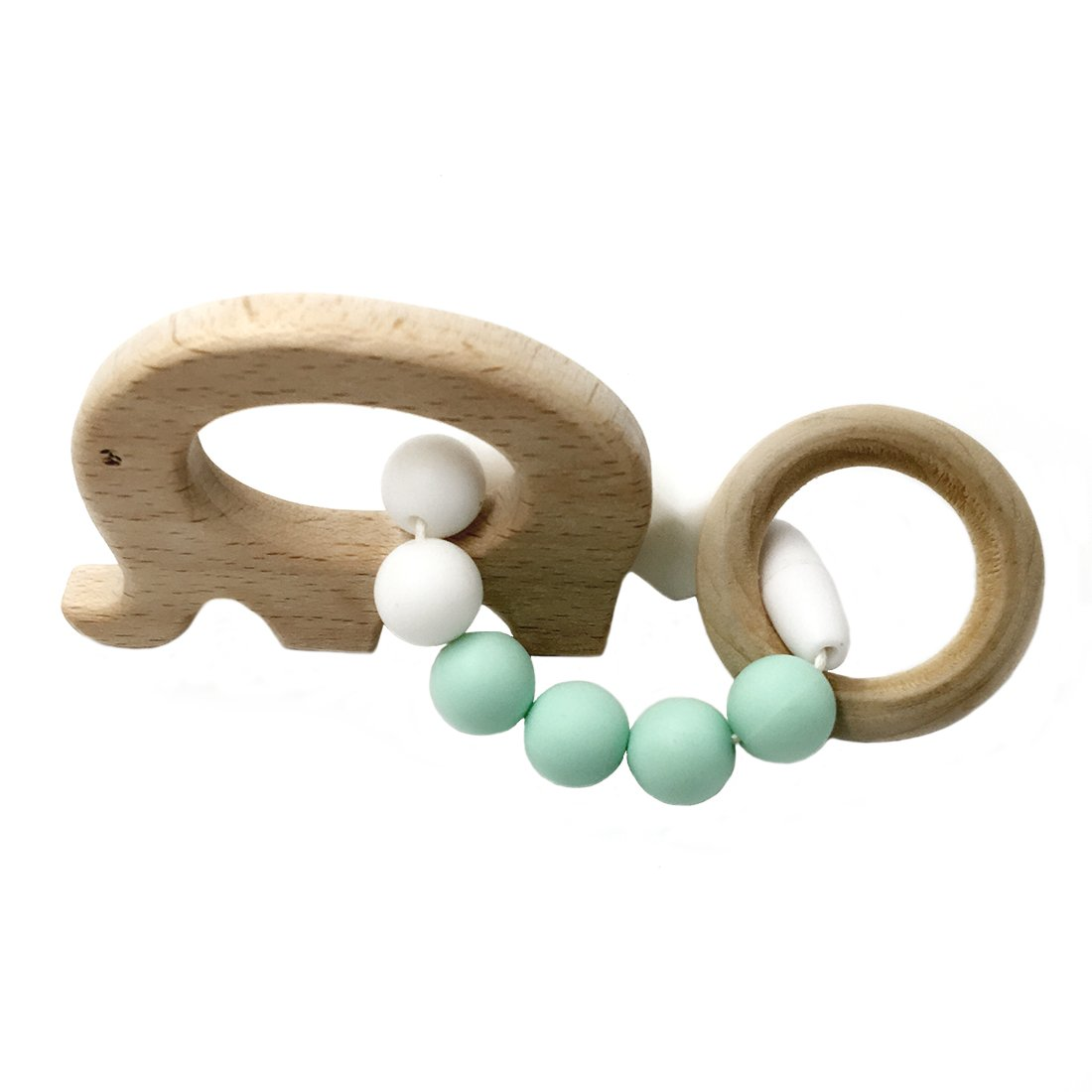 Amyster Wooden Baby Bracelet Animal Shaped Mom Kids Jewelry Teething For Baby Organic Wood Silicone Beads Baby Bangle (S504)