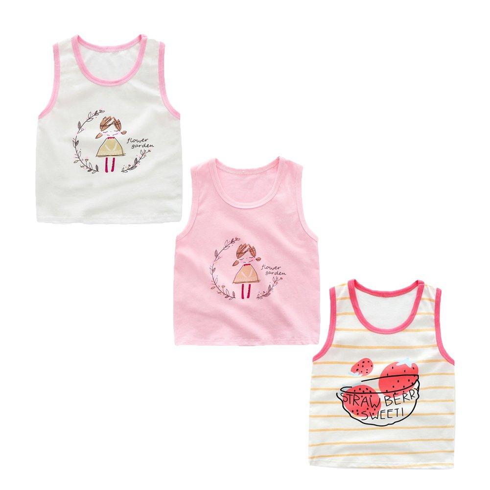 JT-Amigo 3 Pack Kids Girls Sleeveless Vest Undershirts Tank Tops Age 3-7 Years KidsUnderwear018-M