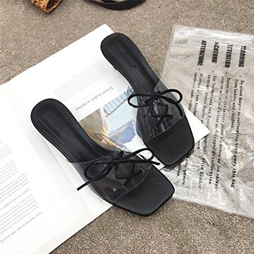 Point Tow Chaussures Mid Transparent Yalanshop Noir Talons Owz0H