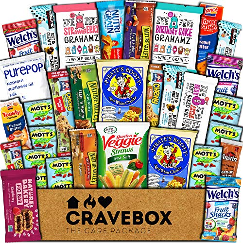 CraveBox Healthy Care Package (30 Count) Natural Food Bars Nuts Fruit Health Nutritious Snacks Variety Gift Box Pack Assortment Basket Bundle Mix Sampler College Students Final Exams Office Spring