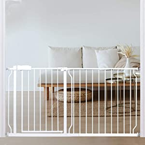 Extra Wide Baby Gate 57.5 to 62.2 Inch Wide Pressure Mounted Auto Close White Metal Child Dog Pet Safety Gates with Walk Through for Stairs,Doorways,Kitchen and Living Room