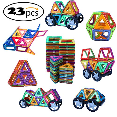 Ehome Magnetic Blocks, 23 PCS Magnetic Building Blocks with Strong Magnet, Car Building Magnetic Building Set for Kids Magnetic Tiles Educational Stacking Blocks Boys Girls Toys. ()