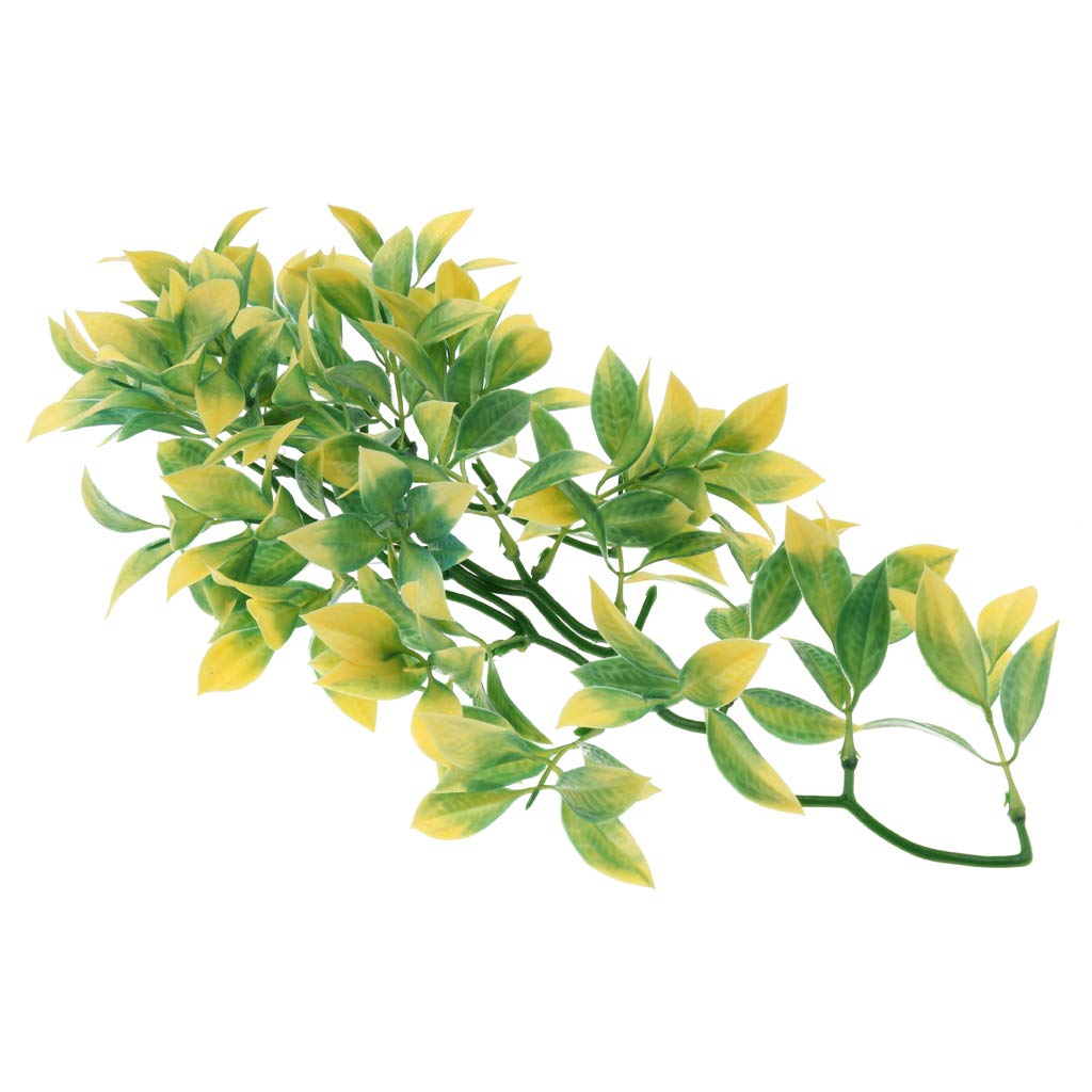 D DOLITY 30x12cm/11.81x4.72inch Reptile Vivarium Artificial Yellow Green Vines Plastic Plant Vine Decor