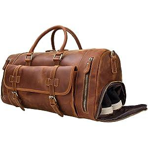 本革 ボストンバッグ メンズ シューズ収納 大容量 旅行鞄 耐久 2way レトロ 牛革 トラベルバッグ レザー 機内持ち込み ゴルフバッグ 底鋲付き 牛革 旅行バッグ スポーツバッグ 修学旅行