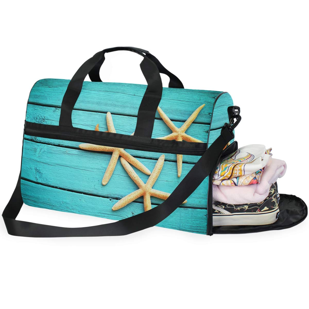 Vacation Gym Travel Duffel Bag Starfish On Blue Waterproof Lightweight Luggage bag for Sports