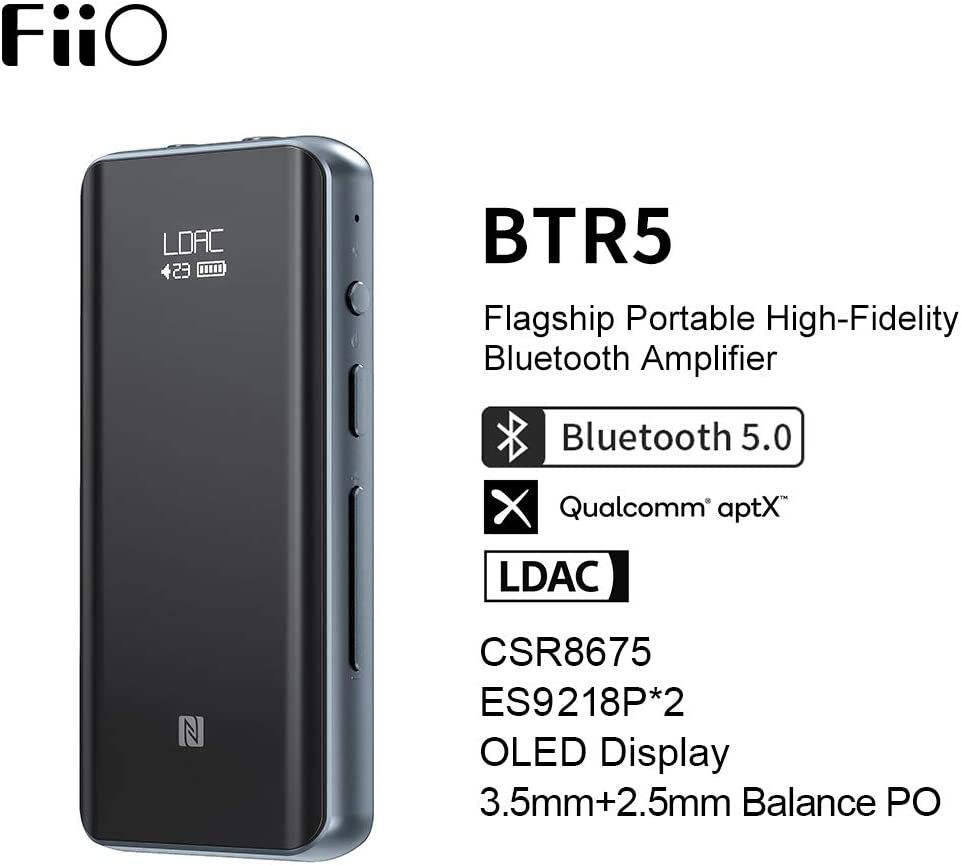 FiiO BTR5-384K/32Bit Native DSD256 Hi-Res CSR8675 Bluetooth5.0 Receiver/USB DAC/DSD Headphone Amp with LDAC, aptX HD, (3.5mm Unbalanced&2.5mm Balanced Output, Titanium)
