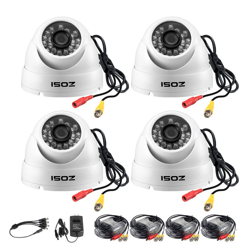 ZOSI 4 Pack 1080P 4-in-1 Security Cameras 2.0MP Waterproof Outdoor Indoor 3.6mm 24PCS Infrared IR Lens Day Night CCTV White Dome Surveillance Cameras Compatible with TVI CVI AHD CVBS DVR