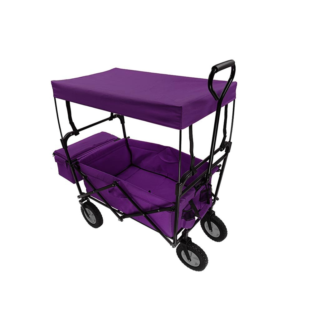Summates Collapsible Folding Utility Wagon with canopy ,Garden cart,outdoor,shopping (Purple)