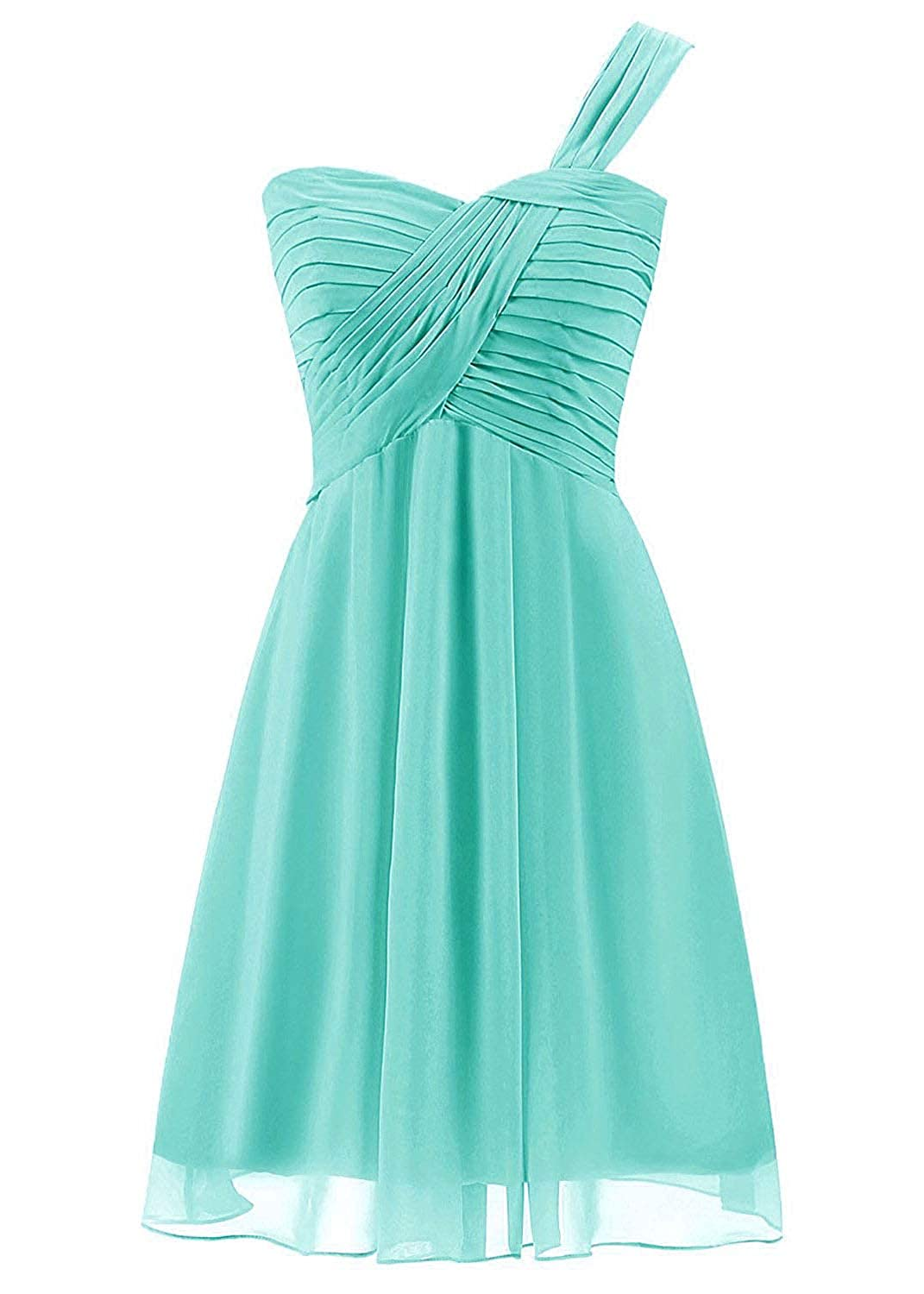 Uther Short Bridesmaid Dresses Chiffon Pleated One Shoulder Prom Homecoming Gowns CL000293
