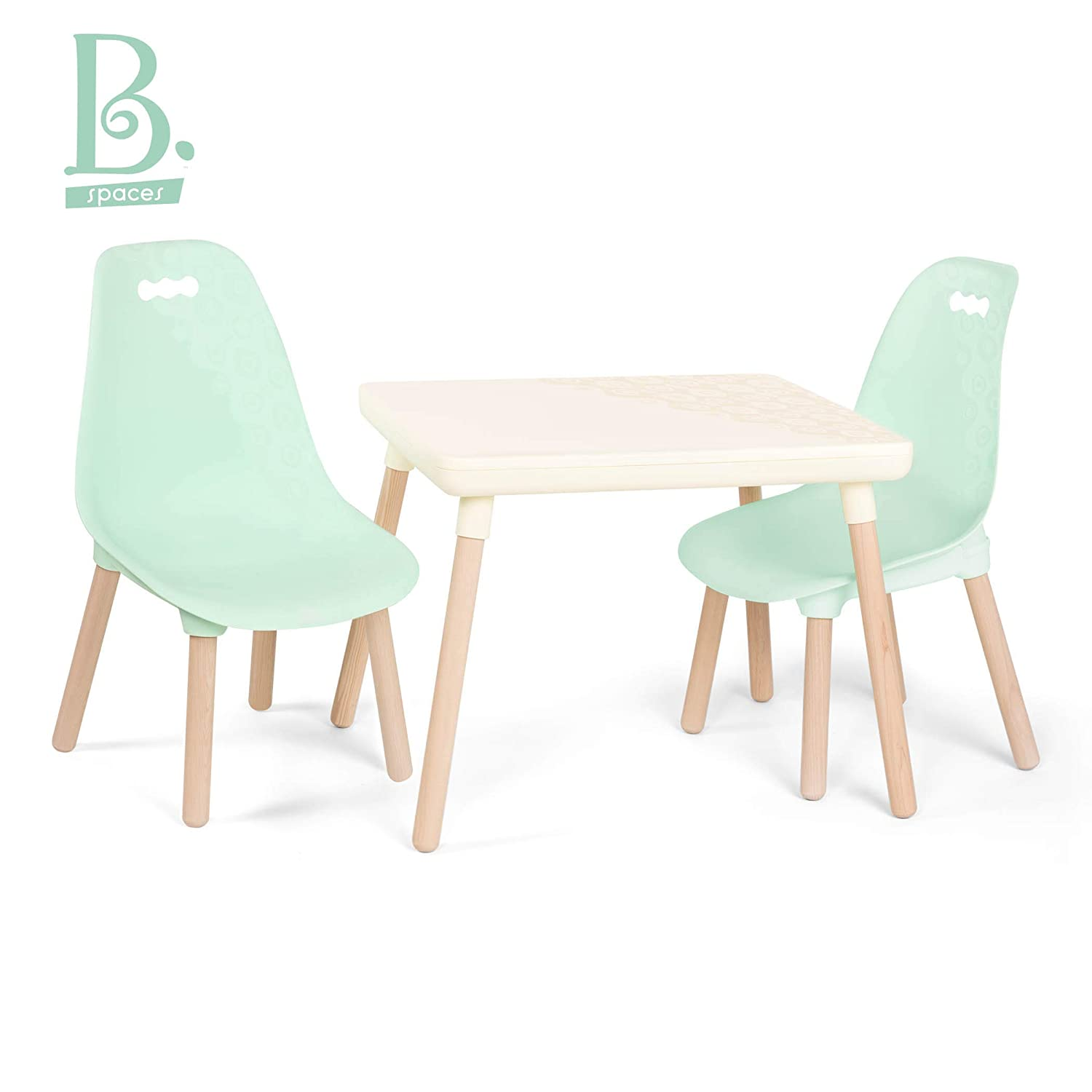 Super B Toys Kids Furniture Set 1 Craft Table 2 Kids Chairs With Natural Wooden Legs Ivory And Mint Interior Design Ideas Gentotryabchikinfo