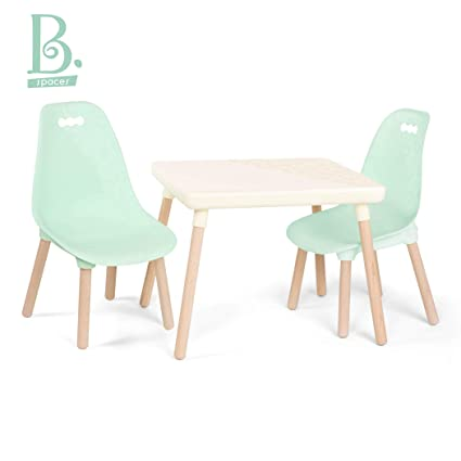Terrific B Toys Kids Furniture Set 1 Craft Table 2 Kids Chairs With Natural Wooden Legs Ivory And Mint Interior Design Ideas Apansoteloinfo
