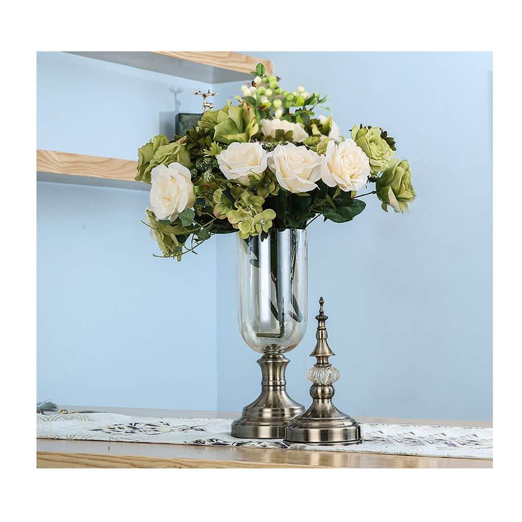 ガラス花瓶 ドライフラワーセットと手作りガラス花瓶水耕結婚式の家の装飾の青銅 B07T5JXBSV