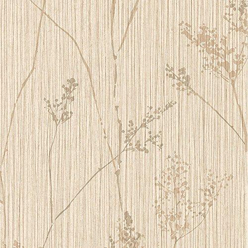 Manhattan Comfort NWTE29371 Berwyn Vinyl Reeds Textured Wallpaper, Beige