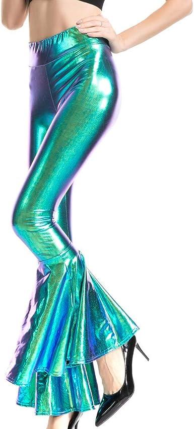 Pantalones Acampanado para Mujer Moda PU Sexy Leggins Acampanados ...