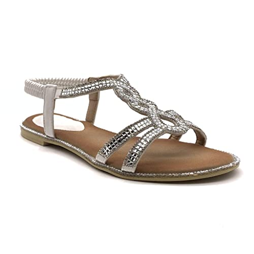 Sandale Pratique Talon Plat Strass Chaussure Angkorly On Mode Slip Confortable Femme Diamant ordCxQeWBE