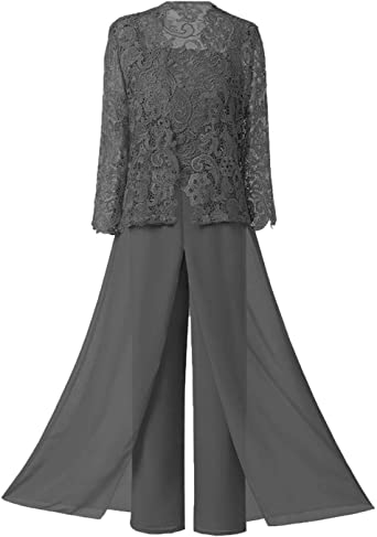 Amazon Com Women S Lace Evening Party Dress Pantsuits Set Mother Of The Bridesmaid Dresses Wedding Plus Size Formal Outfits Clothing