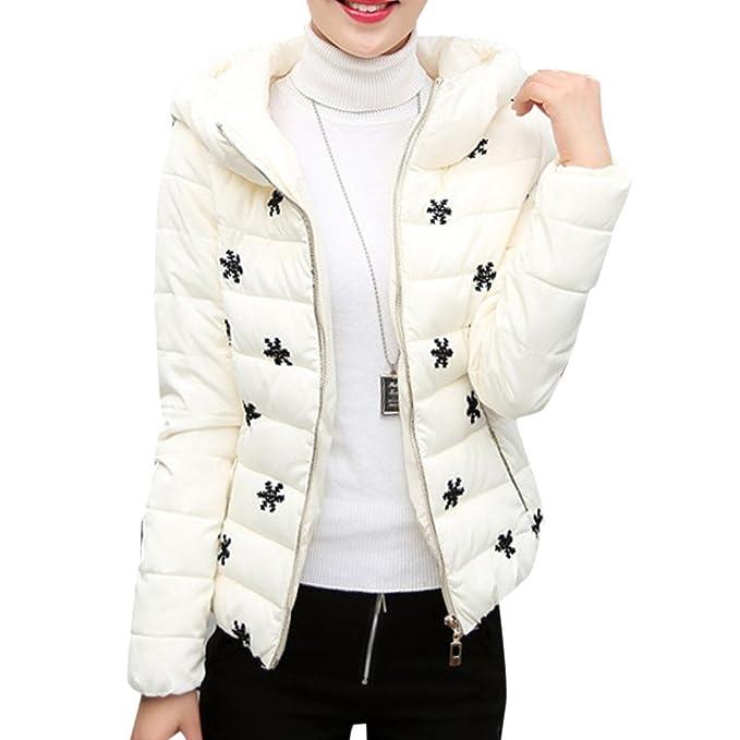 YOUR GALLERY Abrigos Plumas Chaquetas de vestir Cremallera Invierno Cazadoras Cortas con Capucha para Mujer, Blanco:XL: Amazon.es: Ropa y accesorios