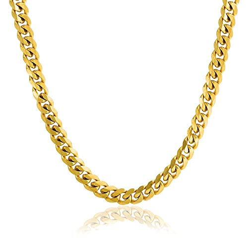Bling Jewelry Heavy Solid Curb Cuban Link Chain 8mm For Men Necklace Gold  Plated Stainless Steel 24 Inch  d46f6c9e9f