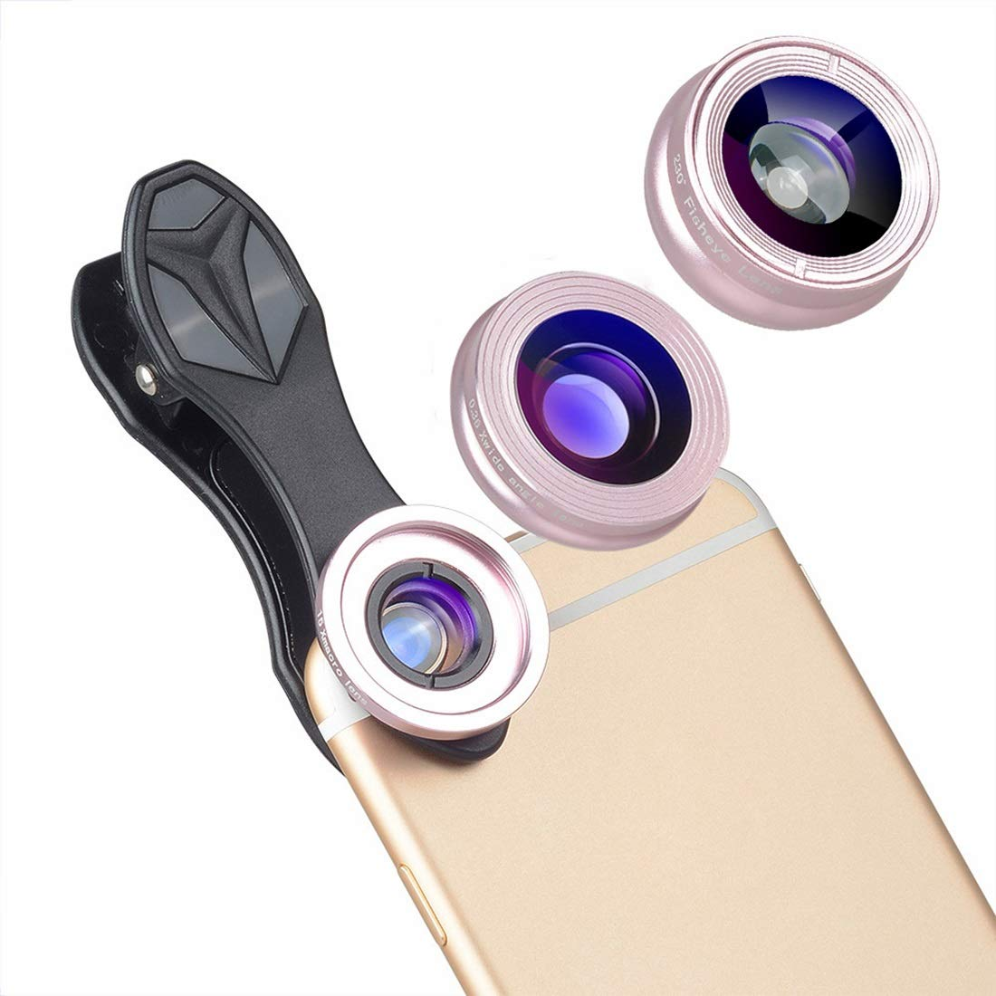 KEYI 3in1 Cell Phone Camera Lens Kit Wide Angle&Macro Lens 230° Eyefish Lens for Most Smartphones and Tablets Lens (Color : Gold) by KEYI