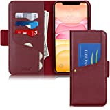 iPhone 11 Case 6.1'',Toplive Luxury Cowhide Genuine Leather iPhone 11 Wallet Case with Kickstand,Wine Red