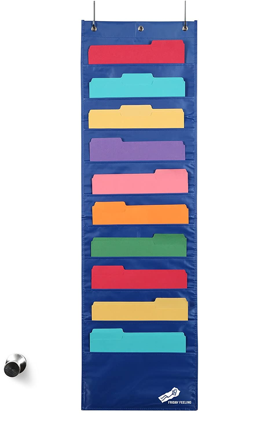 Wall Hanging File Holder Office Organizer + 2 Hangers; Wall Or Over Door Mount [Blue] Friday Feeling