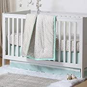 Gold Dot and Chevron Zig Zag 3 Piece Baby Crib Bedding Set with Mint Green